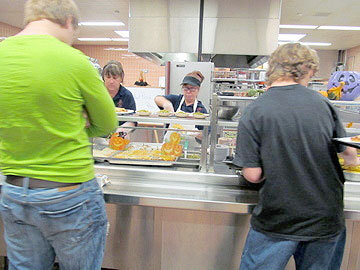 Students order up pizza at AA Kingston Middle School in Potsdam. Photo: Julie Grant
