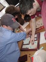 From left, Kevin, Shay and Josh placing their next word