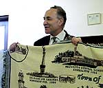 Heuvelton presented Sen. Schumer with a commemorative blanket.