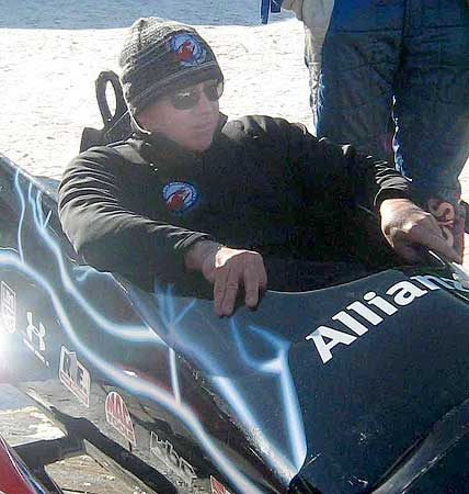 NASCAR legend Geoffrey Bodine tests a sled cockpit