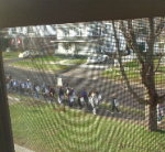 The view from inside:  Union strikers picket Alice Hyde Medical Center