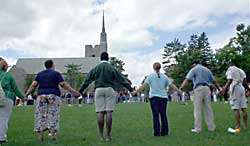 "More than 100 St. Lawrence University students and faculty gathered Thursday afternoon for a ""Peace Circle"" on campus."