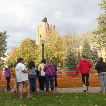Students held an impromptu service to honor the Gunnison Memorial Chapel on Monday. Photo: Zach Hirsch.