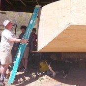 Eric Andrus working on his farm-to-market sailboat. Photo: Sarah Harris