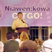 Then Chief Jim Ransom introducing CITGO officials in 2006. Photo: David Sommerstein.