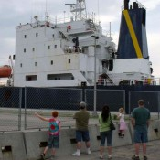 A ship passes through the Massena locks. Photo: Brian Mann