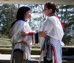 Tracy Brown and Kendra Tagoona, two of the Inuit performers.