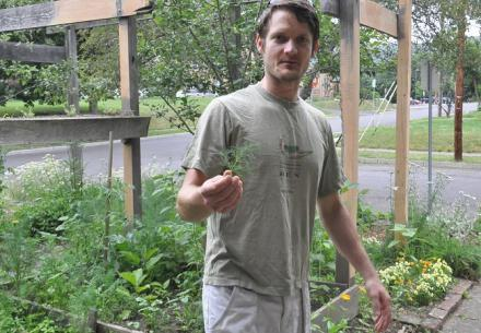 Johan Jelsma at his garden in Binghamton. Photo by Matt Richmond