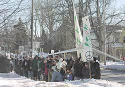 Hundreds turned out in the zero-degree chill in Canton NY as part of an international day of protests supporting peace with Iraq on Saturday, February 15, 2003. Photo by: Dale Hobson