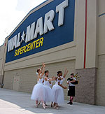 """La Sylphide"" at the Plattsburgh Wal-Mart featured 6 dancers and a bagpiper"