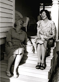 """Ann Barber (L) and Wanda Renick (R) share a laugh in this publicity photo from the Grasse River Players 1992 production of """"Mornings at Seven"""" in Canton.  Photo:  Grasse River Players"""