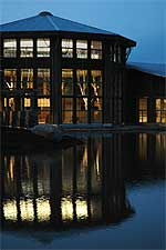 Wild Center Great Hall at night