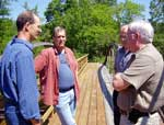 Sen. Wright (right) with Grasse River Heritage members on King Bridge.